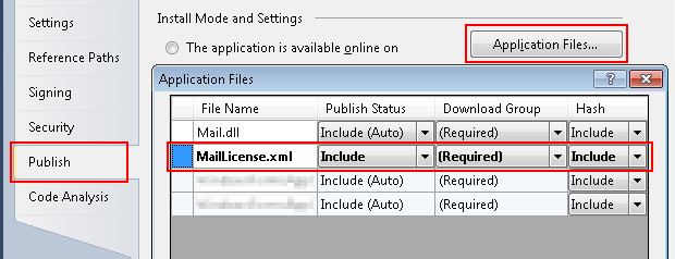 ClickOnce license file deployment