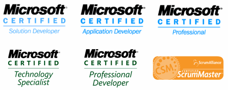 MCSD, MCAD, MCP, MCTS, MCPD and CSM certifications